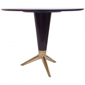 Pedestal Table in the Style of Gio Ponti, Black Lacquered Wood and Gilded Bronze