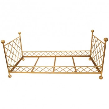 Style Jean Royère, pair of beds, Gilded metal with braces, circa 2000, France.