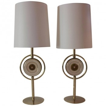 Pair of Table Lamps, Gilded Brass and Glass, circa 2000, Italy