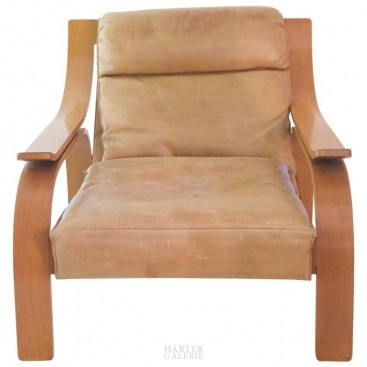 Marco Zanuso, 722 Woodline Armchair, Original Wood and Leather, Cassina Edition