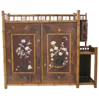 Cabinet Bamboo, Lacquer, Mother-of-Pearl Inlays and Bronze Subjects, circa 1900