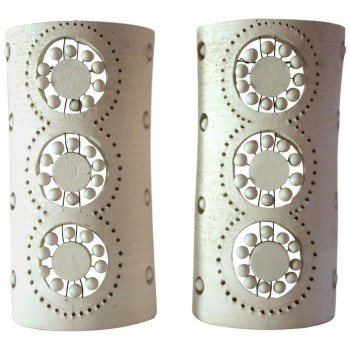 Georges Pelletier, Pair of Sconces, Ceramic, Signed, circa 1970, France.